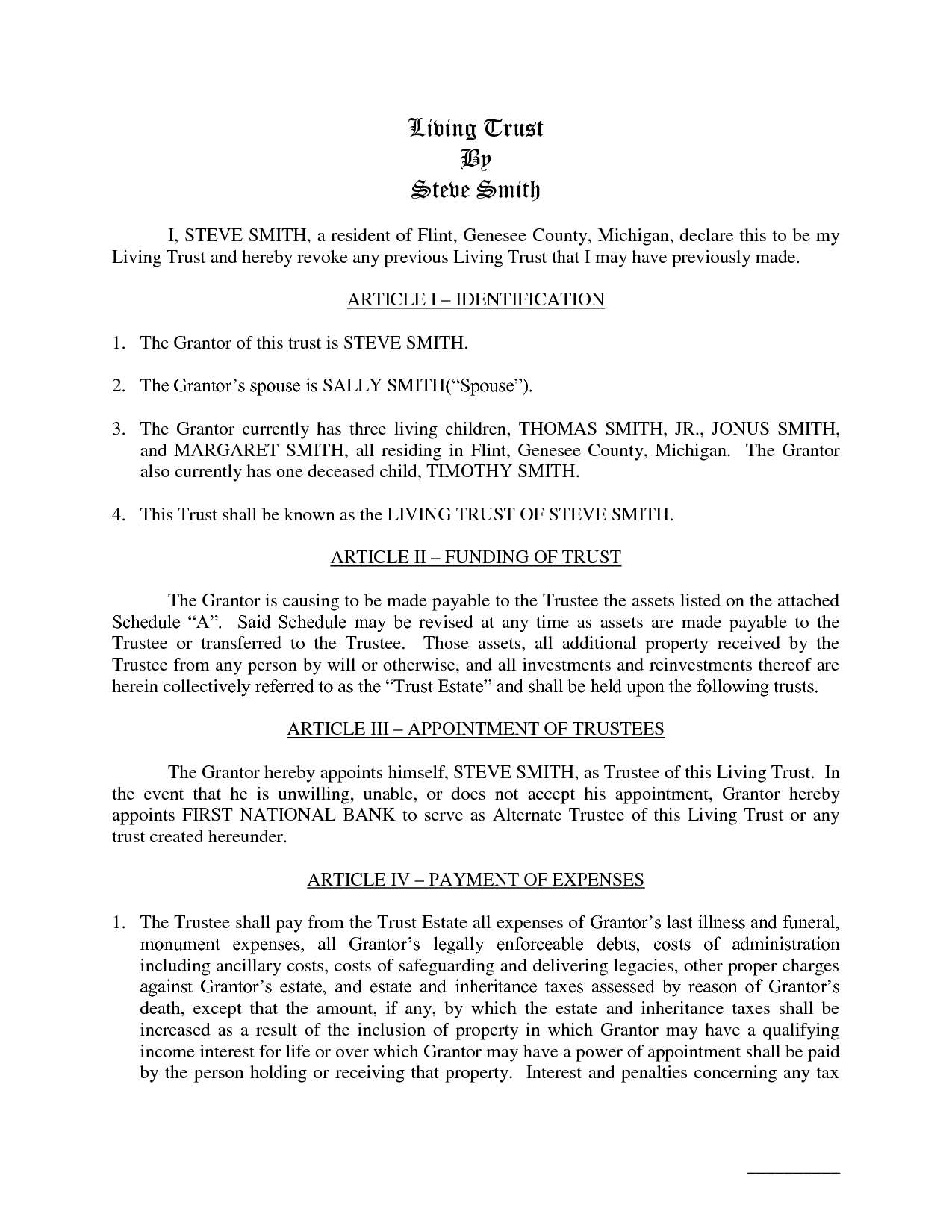 Irrevocable Trust Example