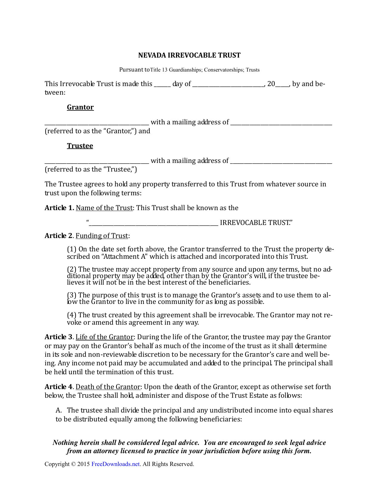 Irrevocable Trust Template Nevada