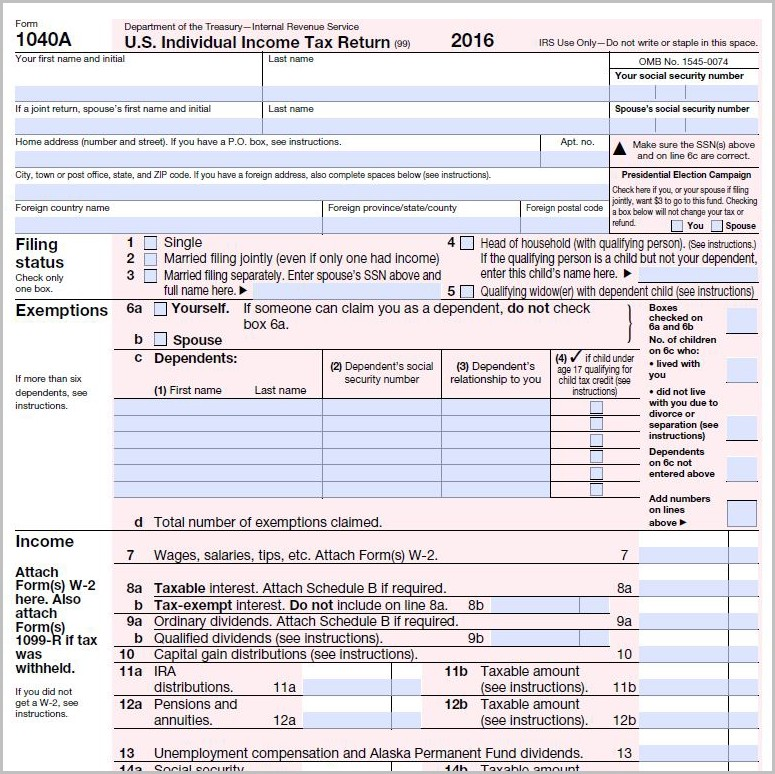 Irs 1040 Short Form 2016