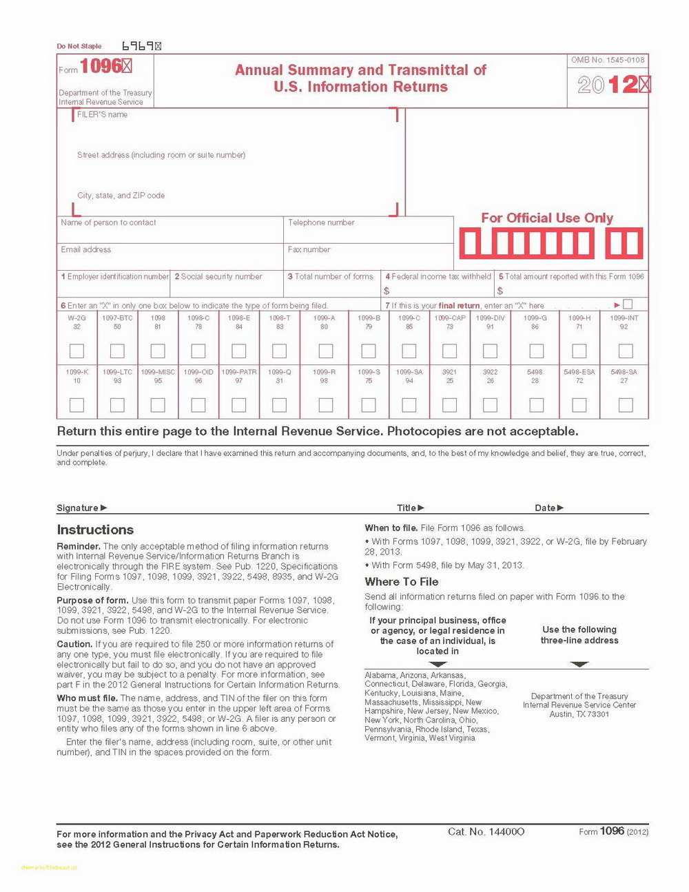 Irs 1099 And 1096 Forms