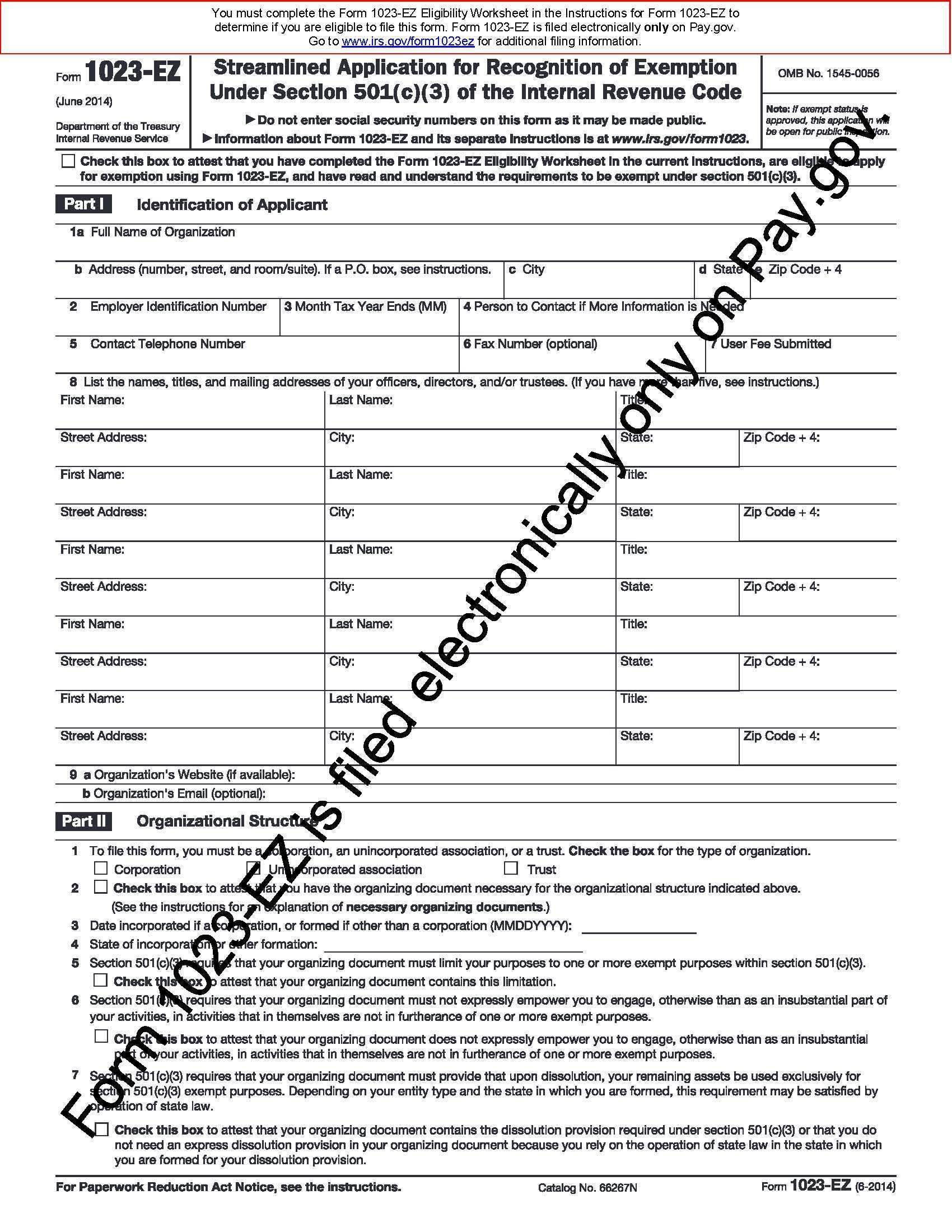Irs 501c3 Application Form 1023