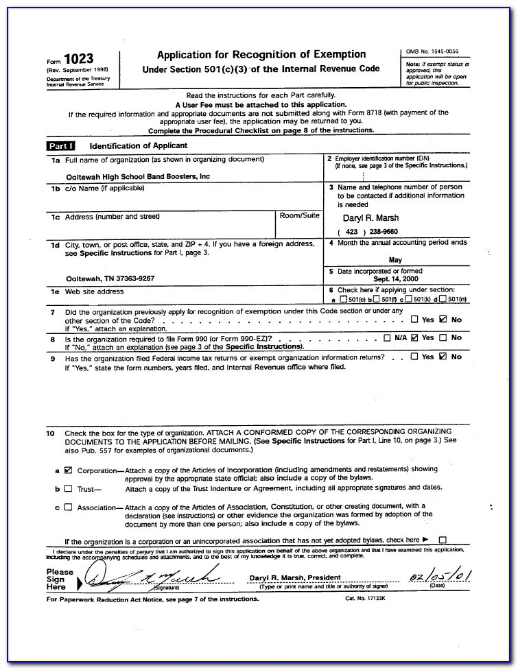 Irs Form 1023 Attachments