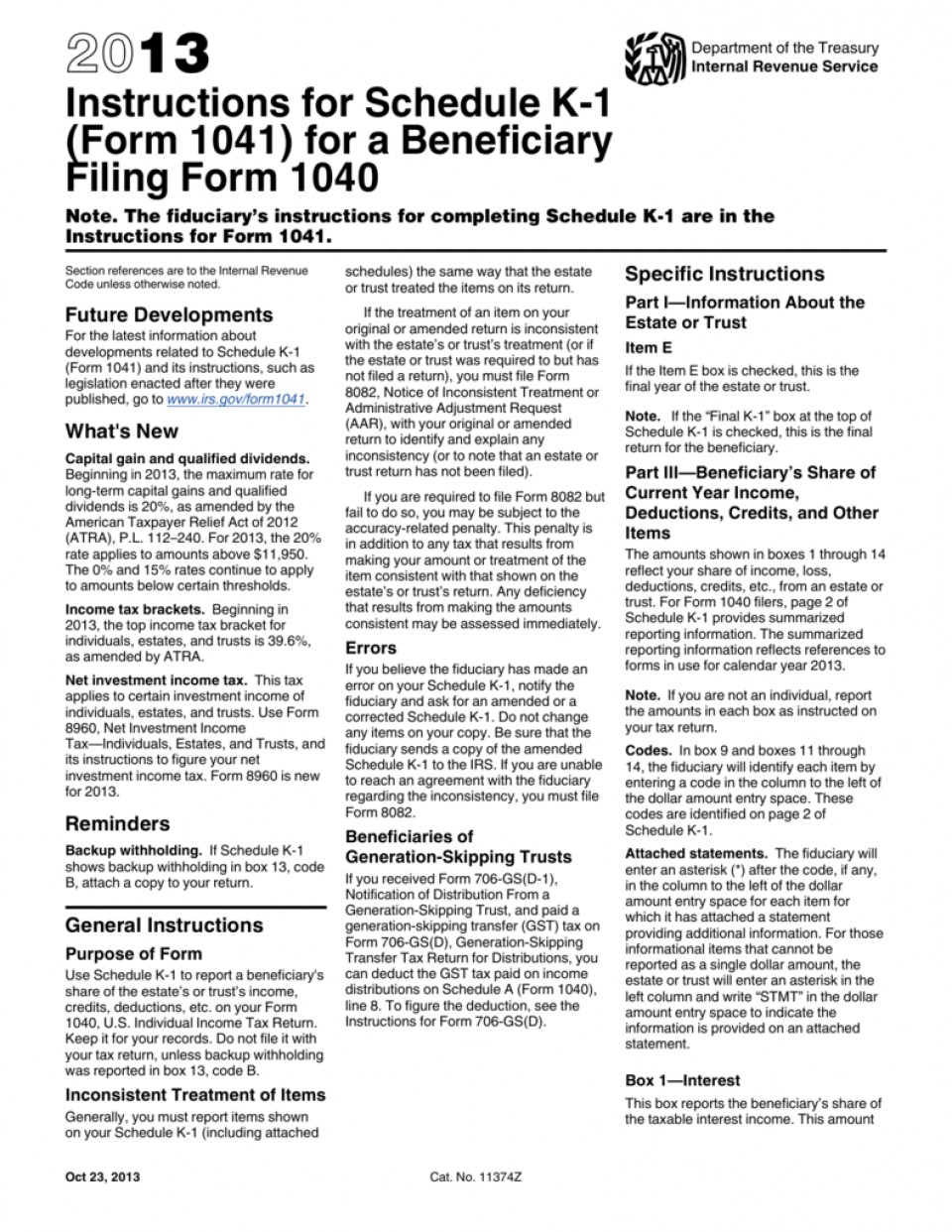 Irs Form 1041 Instructions 2013