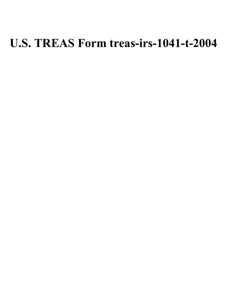Irs Form 1041 T
