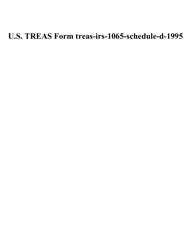 Irs Form 1065 Schedule D