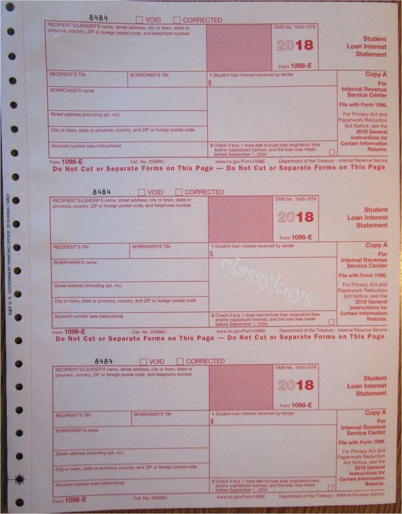 Irs Form 1098 E