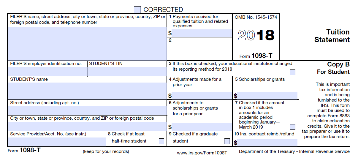 Irs Form 1098 T Box 1