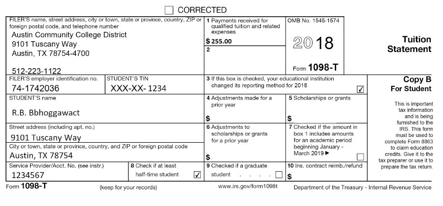 Irs Form 1098 T (electronic Delivery)