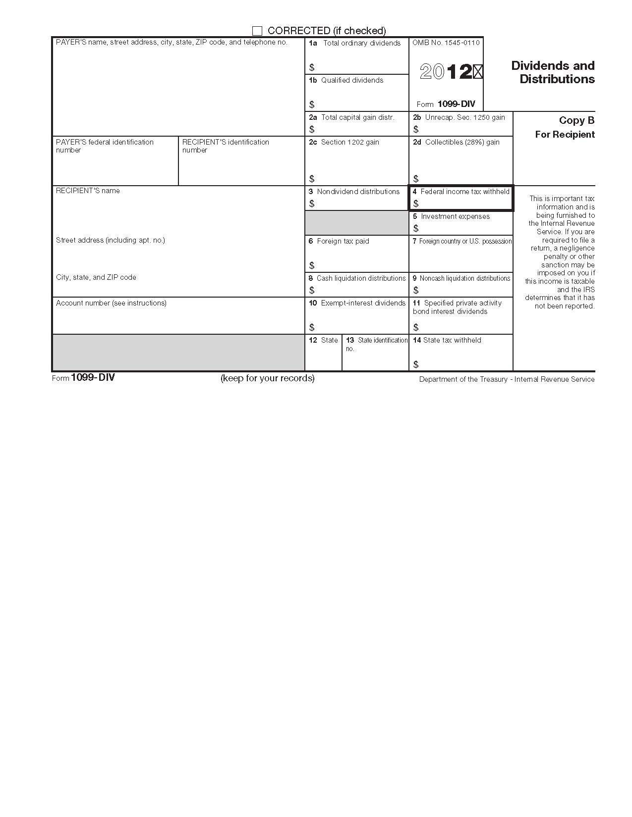 Irs Form 1099 Div Tax Return
