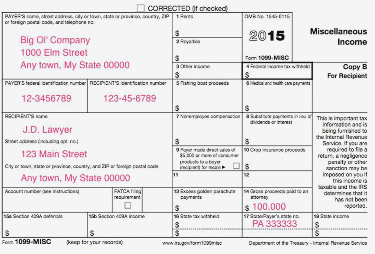 Irs Form 1099 Misc 2016