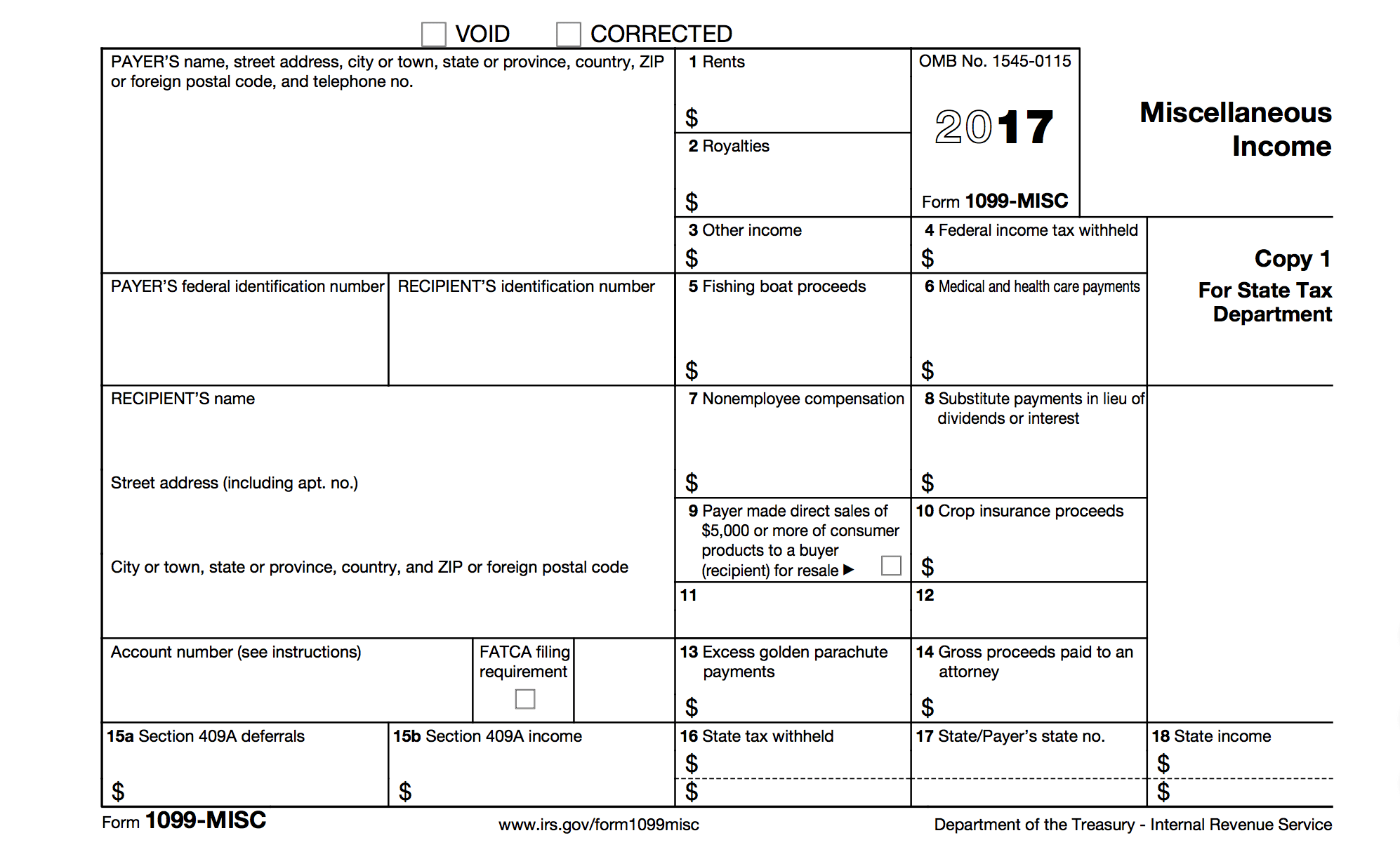 Irs Form 1099 Misc 2017 Printable