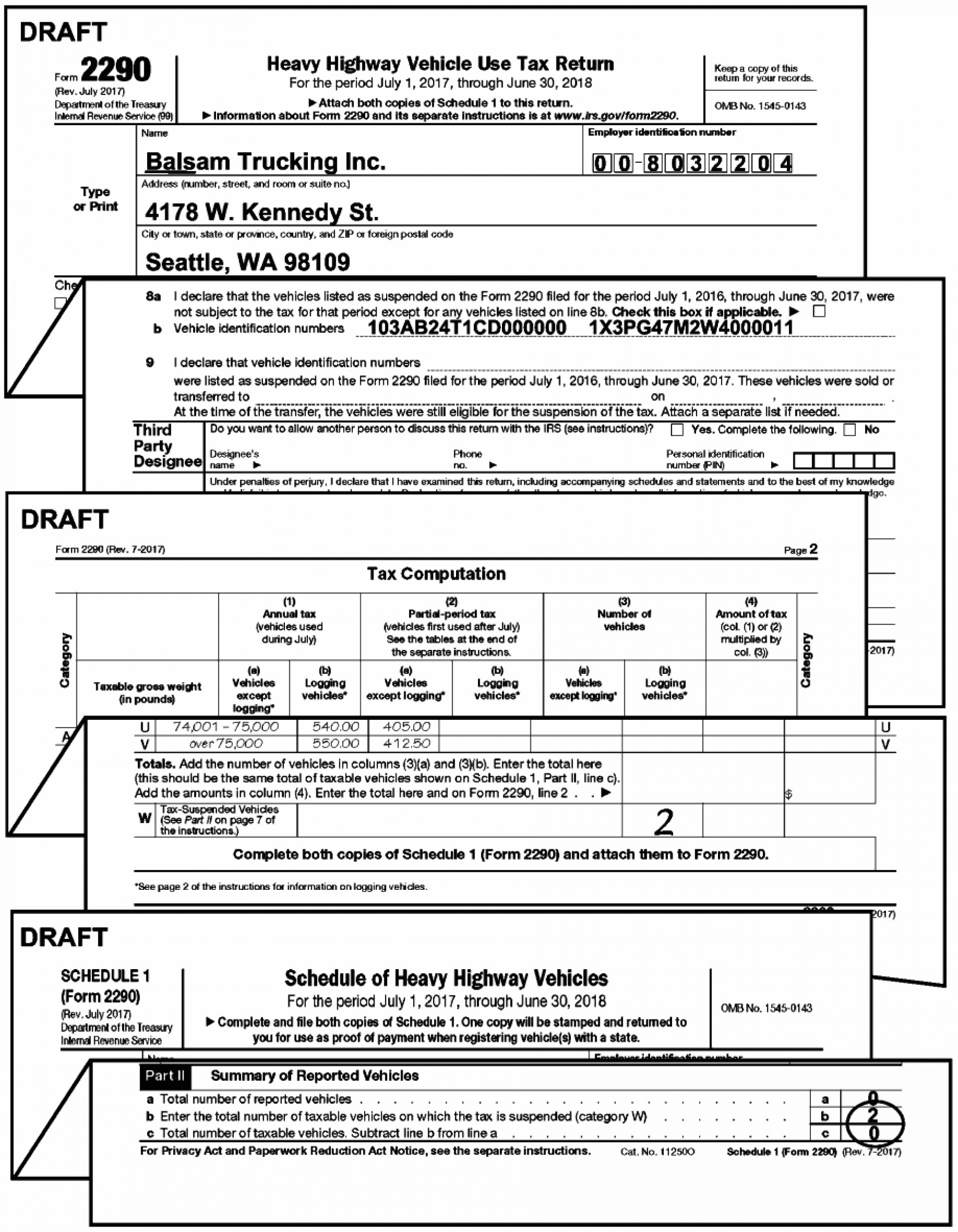 Irs Form 2290 Schedule 1 Instructions