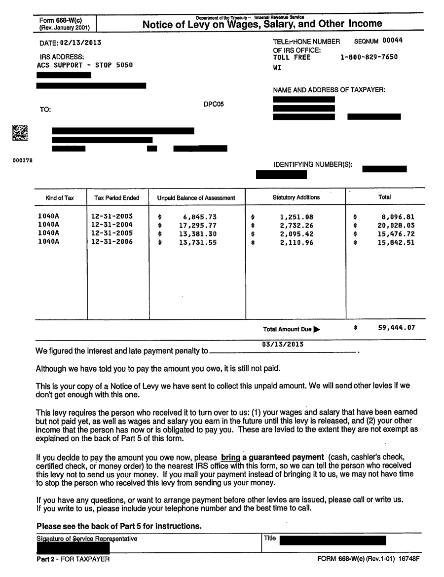 Irs Form 668 W Part 3