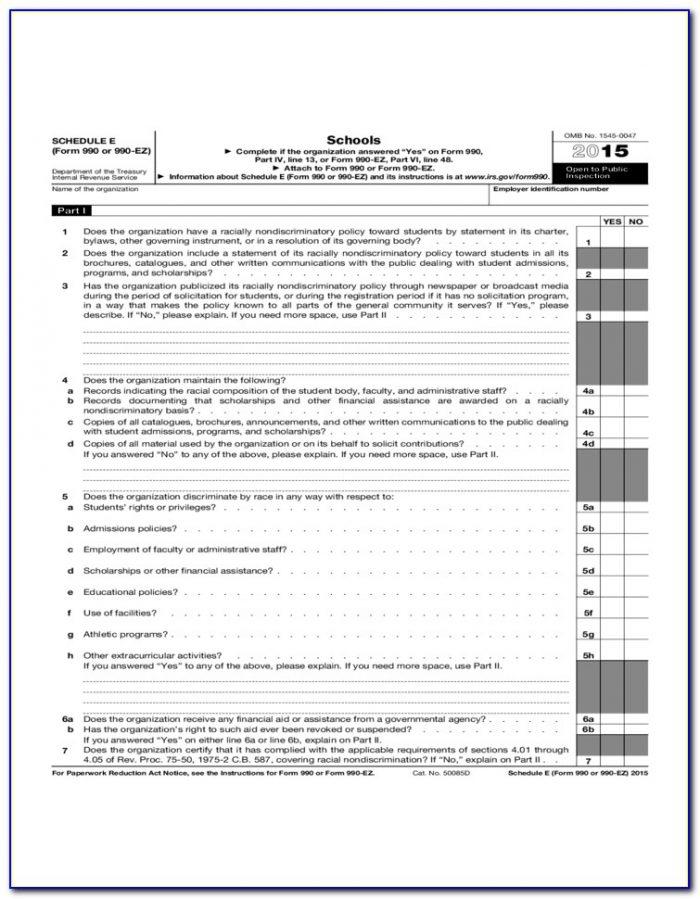 Irs Form 990 Ez Schedule A Instructions