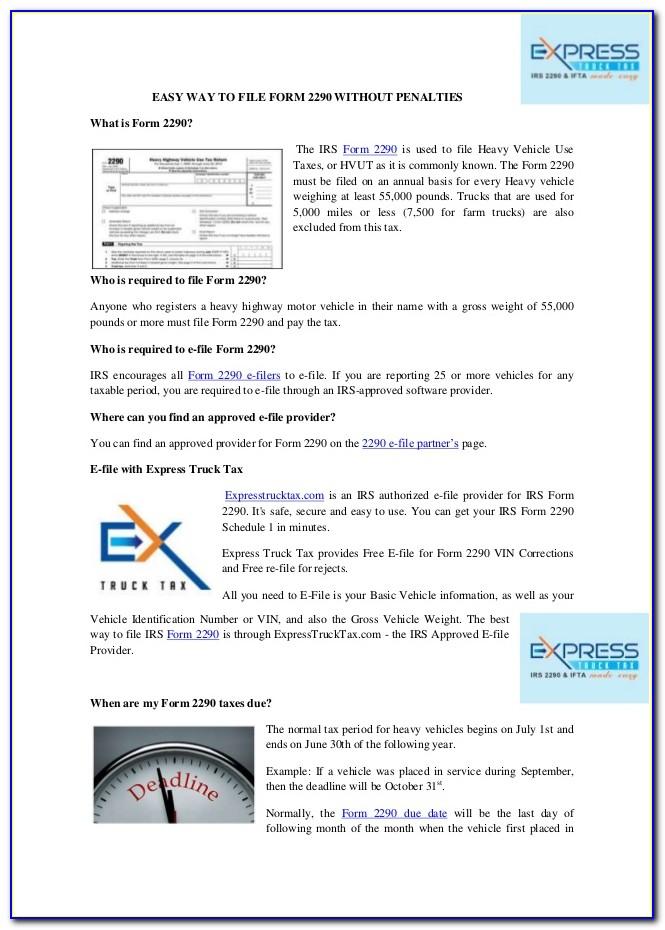 Irs Forms 2290 E File