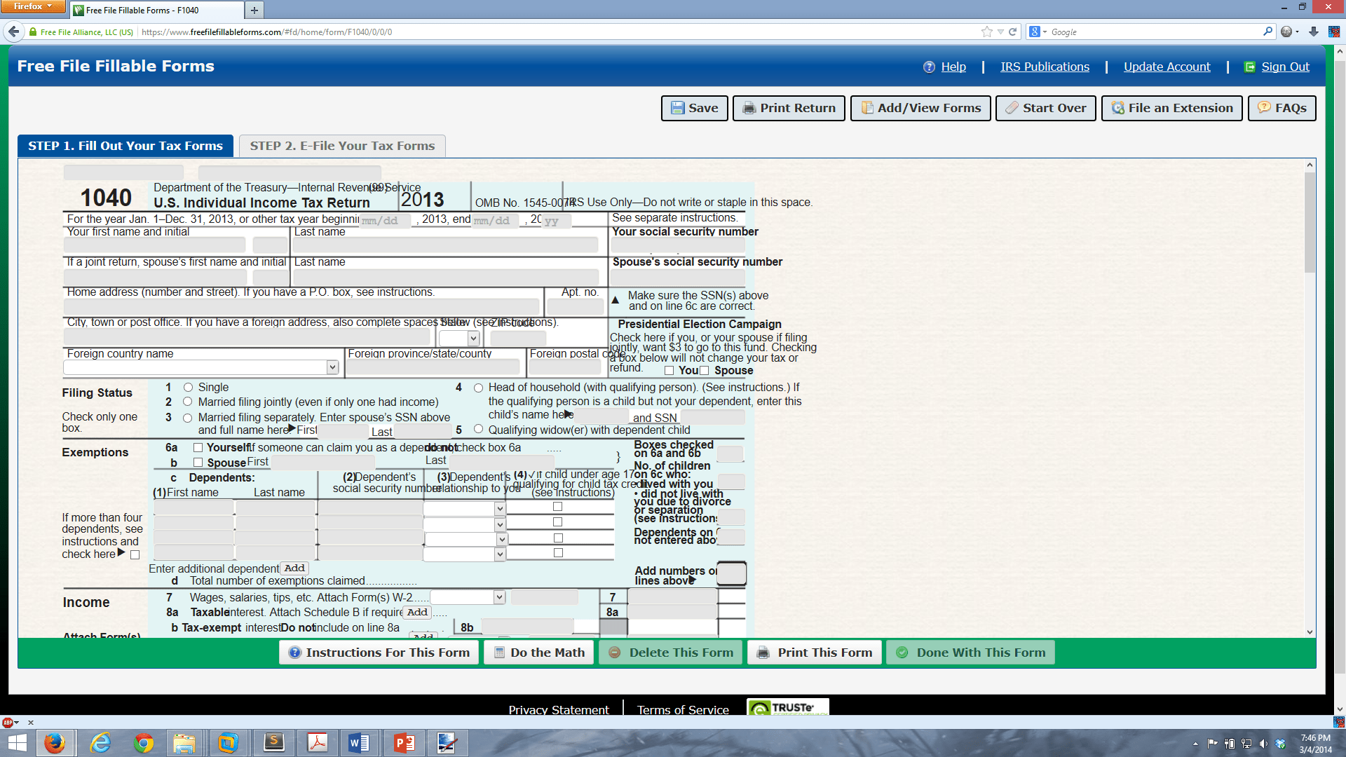 Irs Free File Fillable Forms 2013