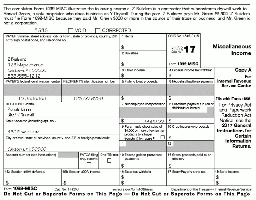 Instructions For Form 1099 Misc 2017 Internal Revenue Service Ir