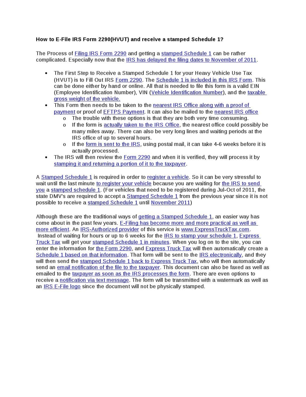 Irs Hvut Form 2290