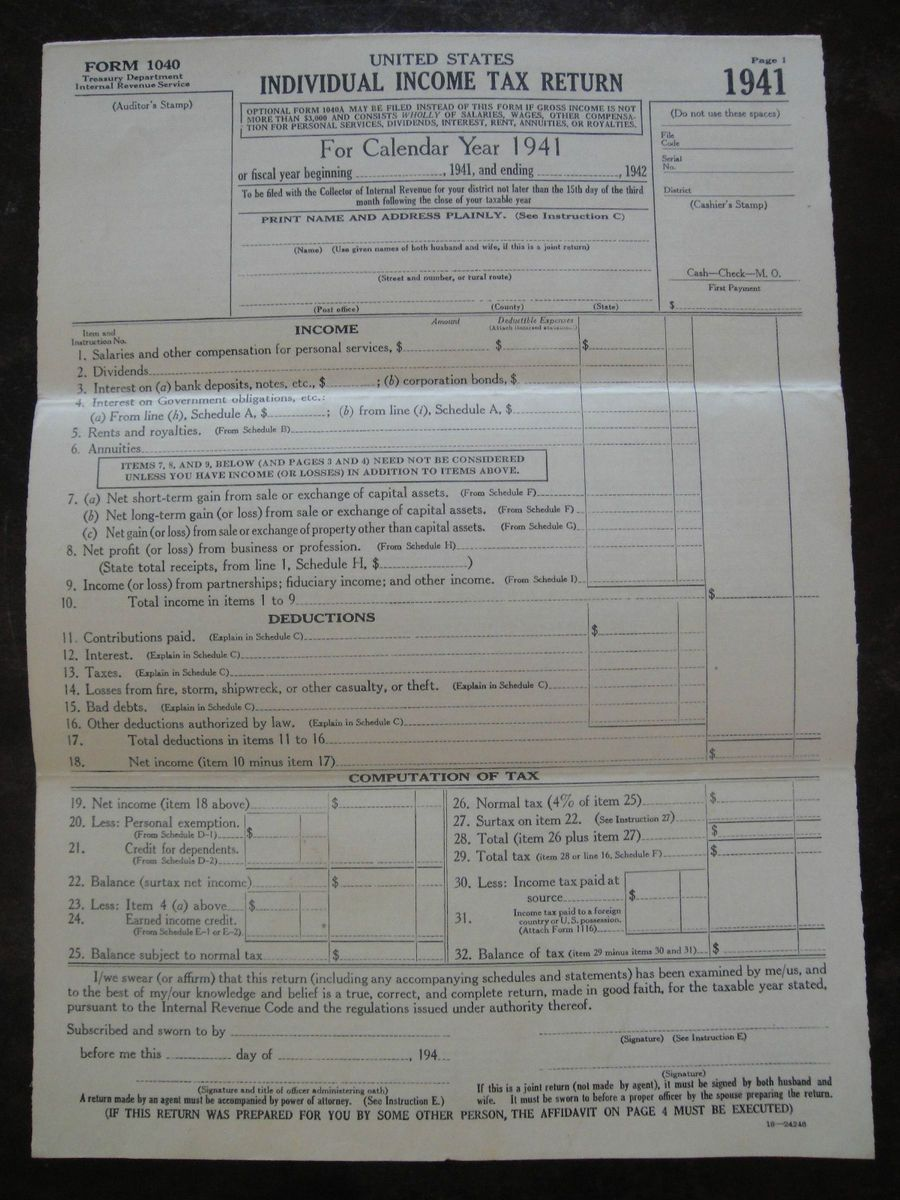 Irs Income Tax Return Form 1040