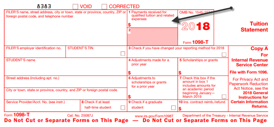 Irs Tax Form 1098 T
