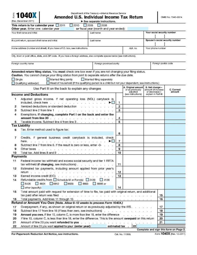 Irs Tax Return Form 1040ez