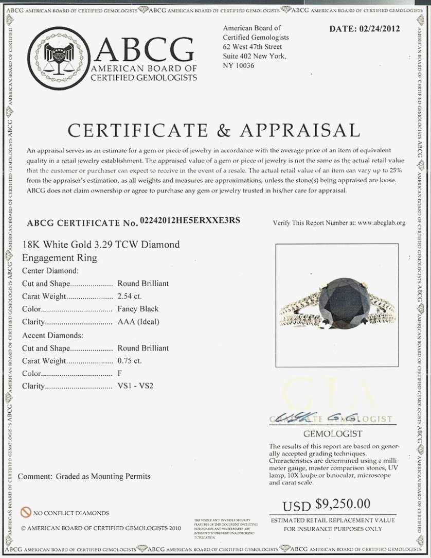Jewelry Appraisal Form Example