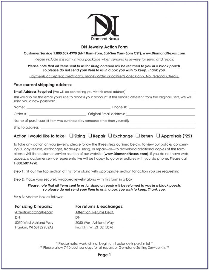 Jewelry Appraisal Form Template Download