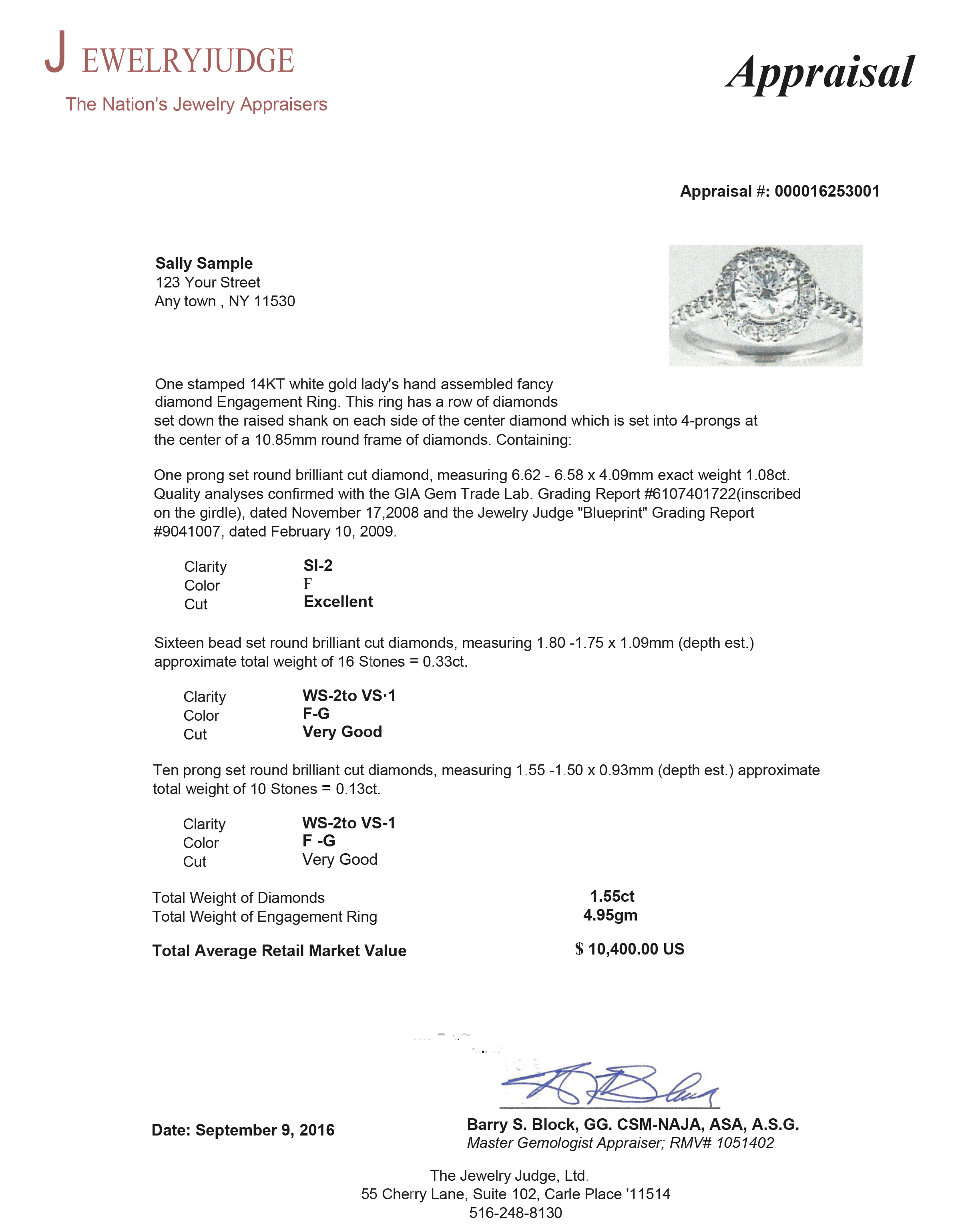 Jewelry Appraisal Sample