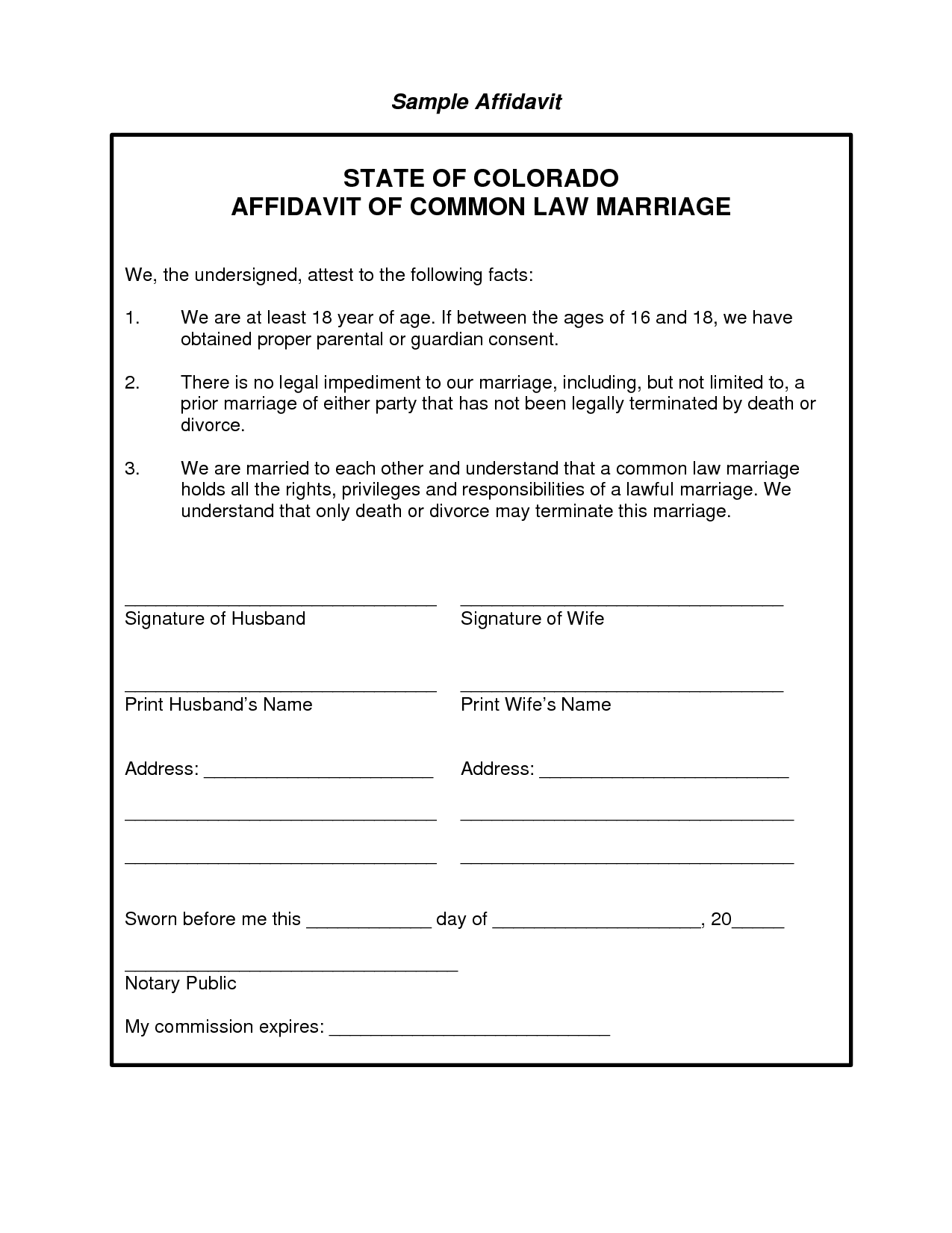 Joint Affidavit Format For Marriage Certificate