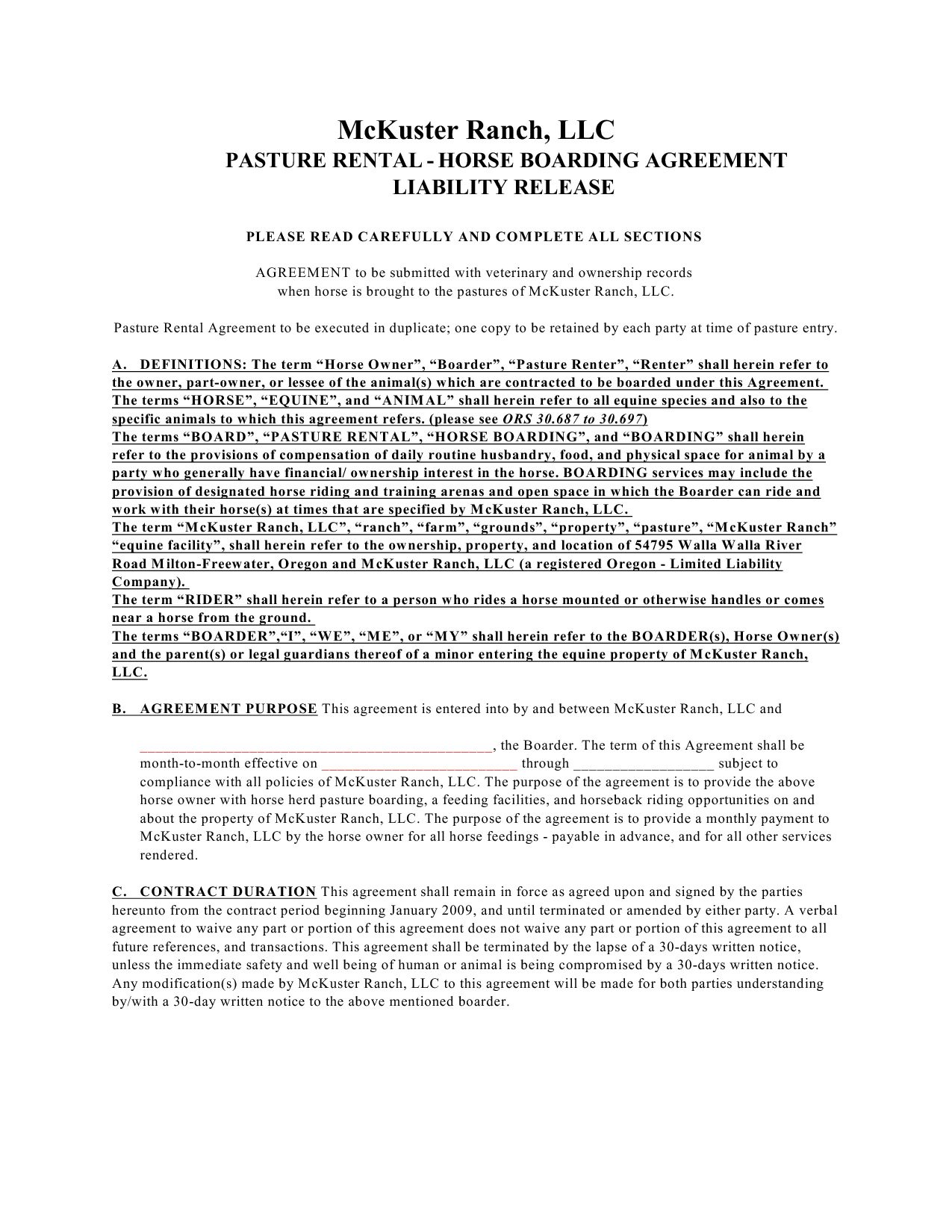 Kansas Pasture Lease Form