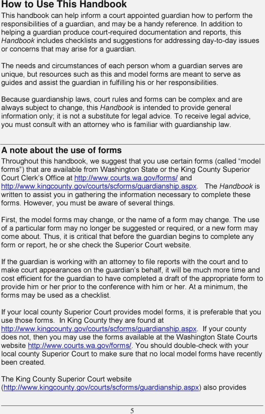 King County Court Forms