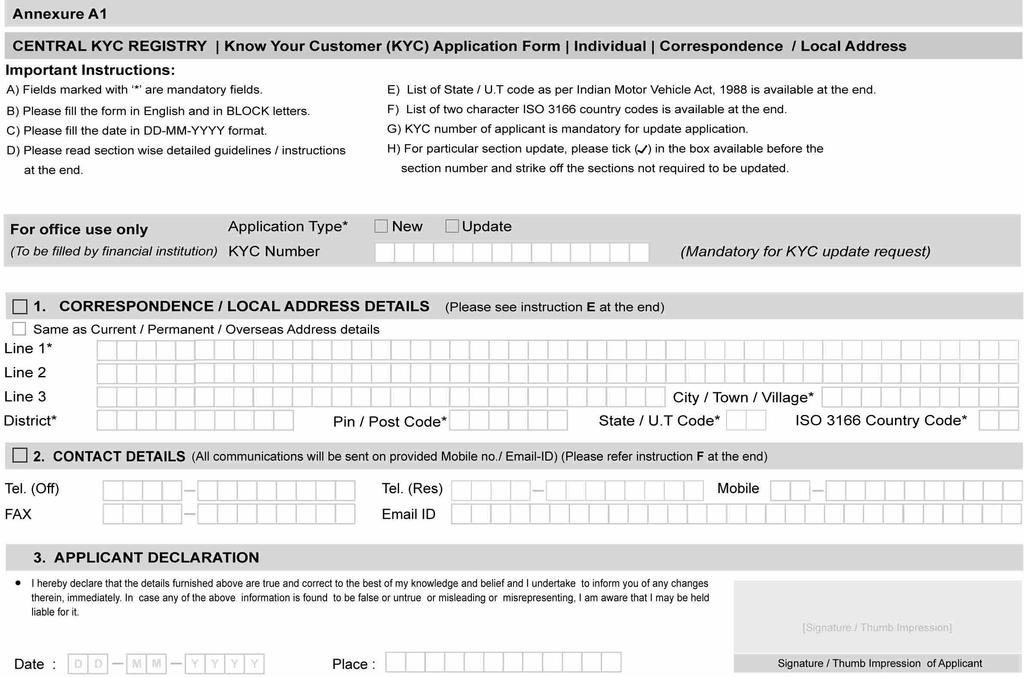 Know Your Customer (kyc) Application Form Individual