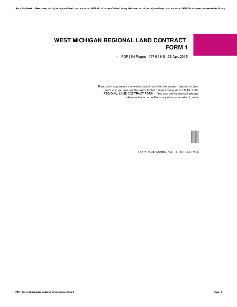 Land Contract Example Michigan