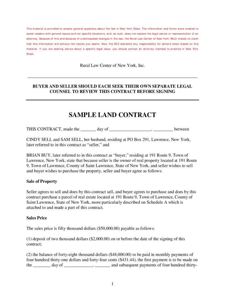 Land Contract Forms Free Download