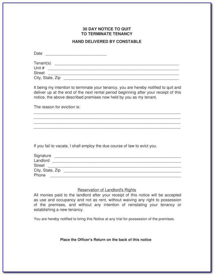 Landlord 30 Day Notice To Vacate Form