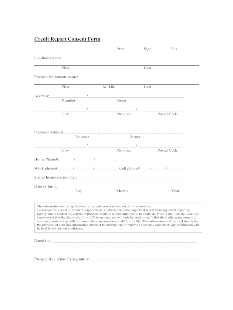 Landlord Credit Check Forms