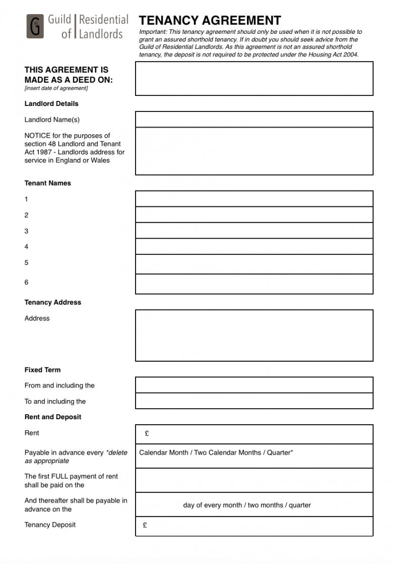 Landlord Tenancy Agreement Form