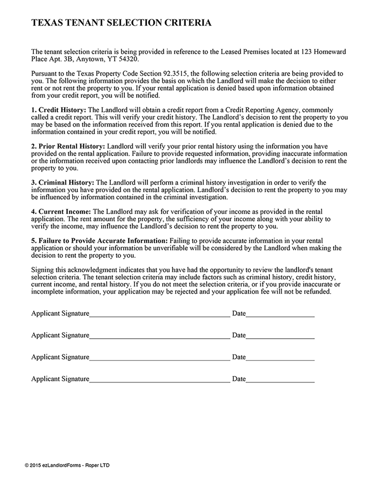 Landlord Tenant Screening Forms