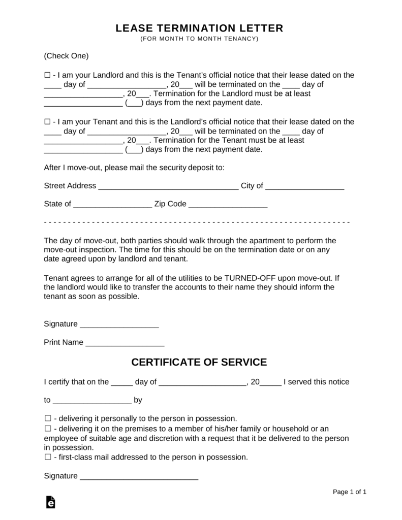 Landlord's Notice To Terminate Tenancy Template
