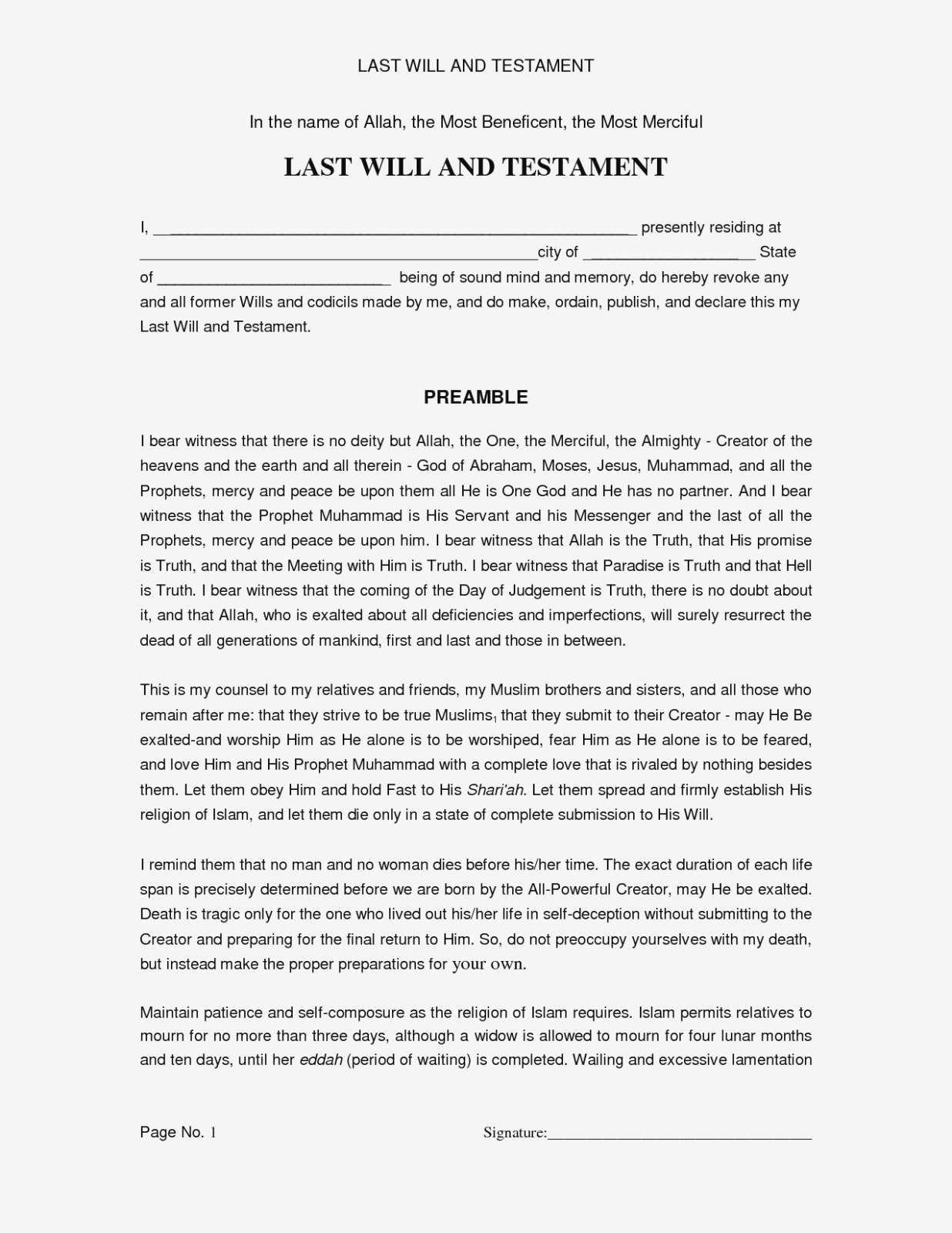 Last Will And Testament Form Free Online