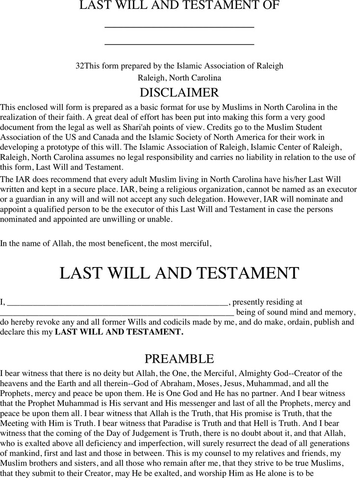 Last Will And Testament Form Nc