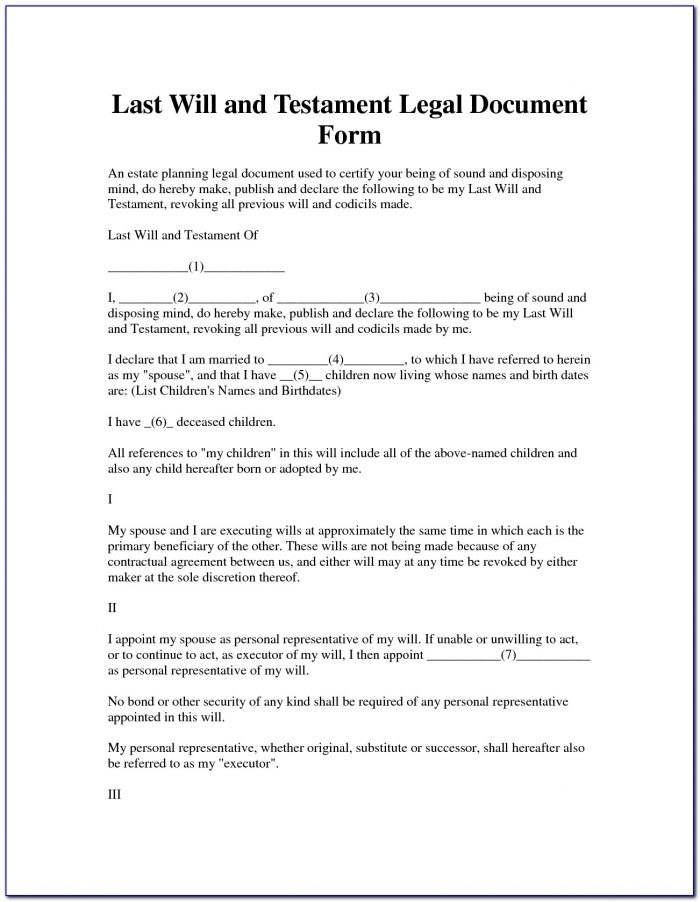 Last Will And Testament Forms New Mexico