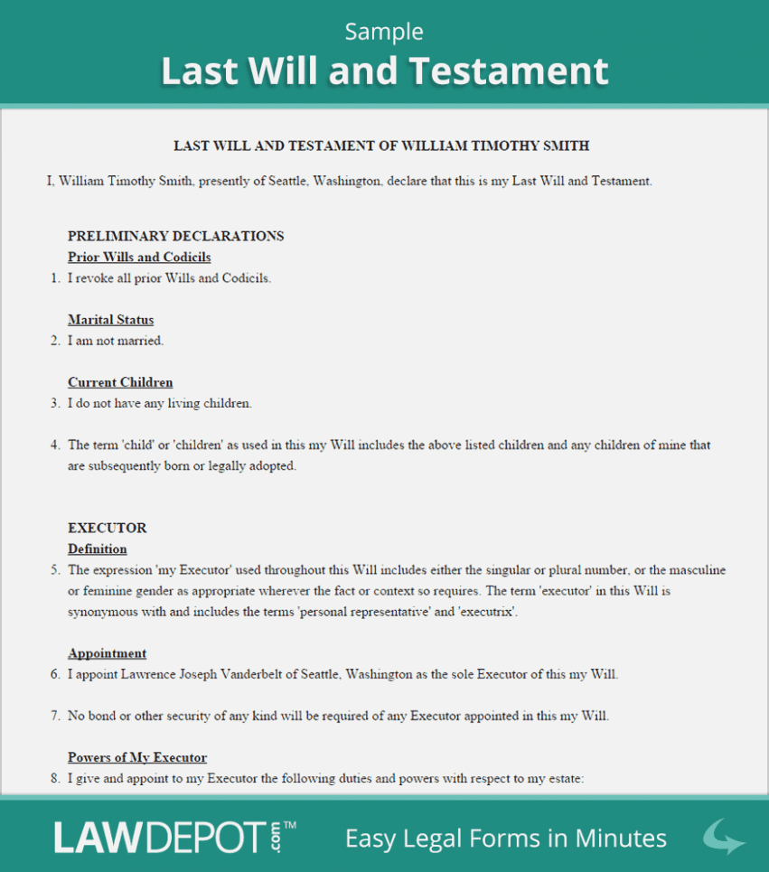 Last Will And Testament Illinois Form Free