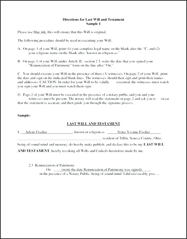 Last Will And Testament Sample Form Philippines