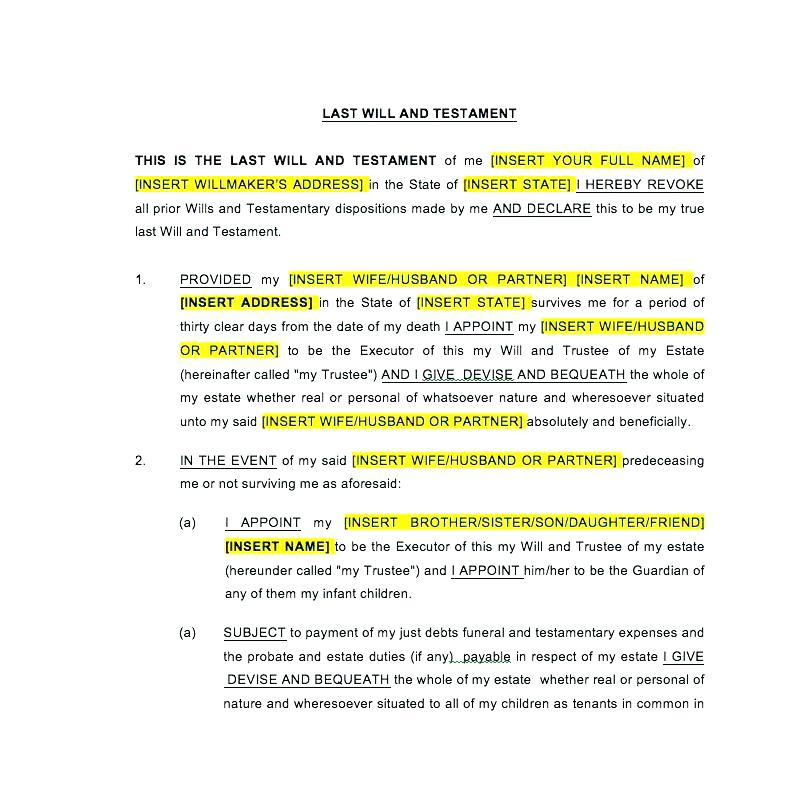 Last Will And Testament Sample Short Form