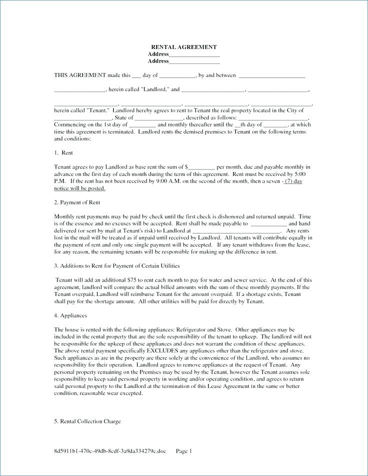 Lease Forms For Rental Property Free