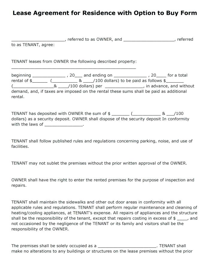 Lease Option Contract Form