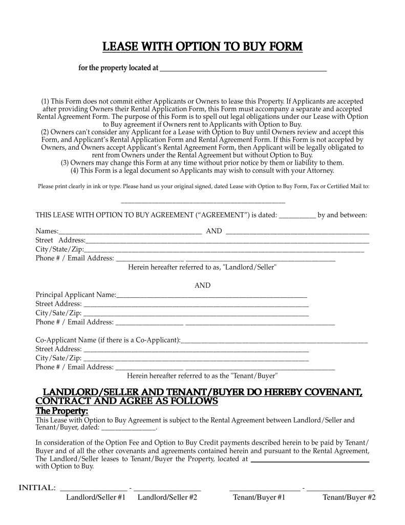 Lease With Option To Buy Contract Form Texas