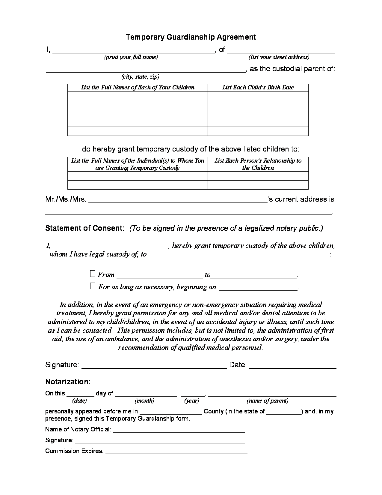 Legal Form For Guardianship Of A Child In Case Of Death Texas