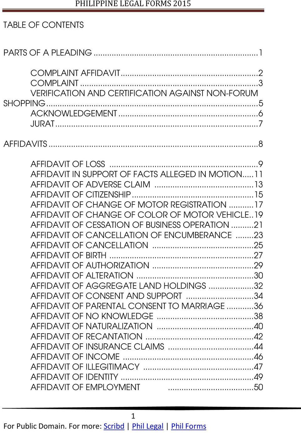 Legal Forms Philippines Affidavit Of Undertaking